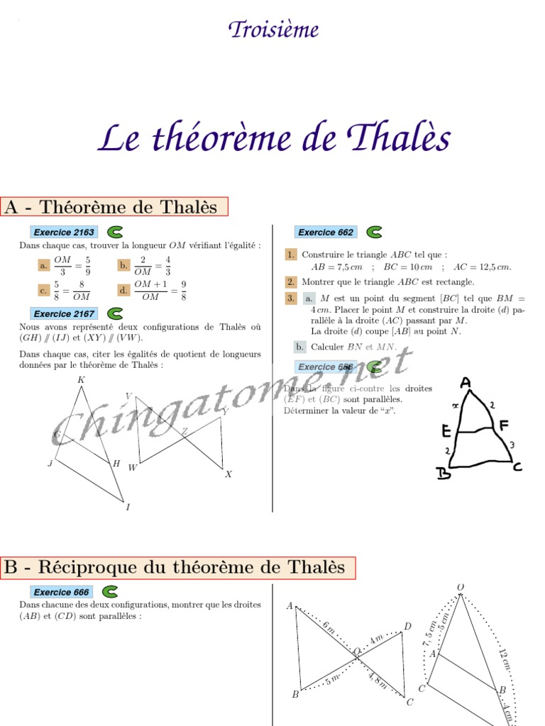 Chingatome Troisieme Le Theoreme De Thales Geometrie Euclidienne Triangle