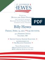 Billy Hewes June 3 Fundraiser