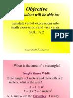 Algebraic Expression Ppt