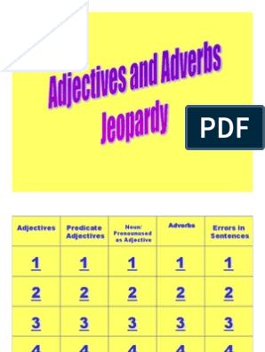 Adjective and Adverbs Jeopardy | Adjective | Adverb