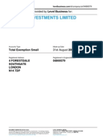 SABRINA INVESTMENTS LIMITED  | Company accounts from Level Business