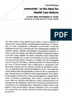 Community as Ideal for Healthcare Reform