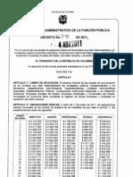 Decreto 1031 de 2011 - Escala Salarial Empleados Publicos de ESE