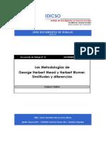 Las Metodologías de George Herbert Mead y Herbert Blumer. Similitudes y diferencias