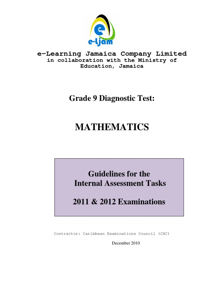 grade 9 math ia 2011 revised 6 1 20111 test assessment rh scribd com Oxford Information Technology CSEC for CXC Caribbean Examination Council Past Papers