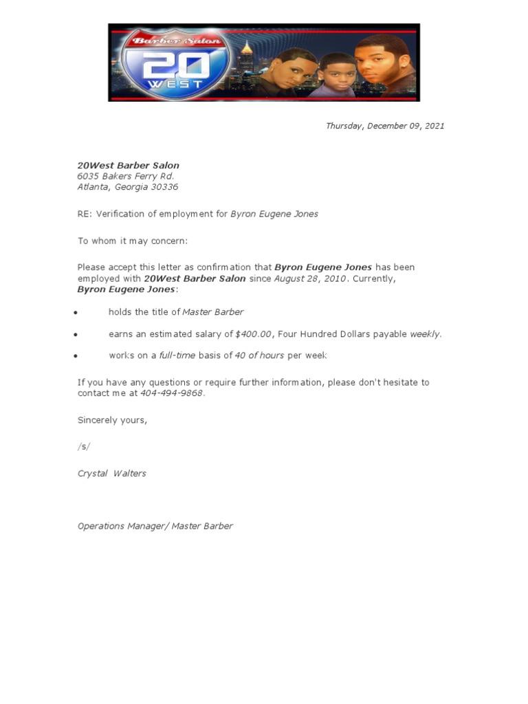 Employment Verification Letter – Letter of Employment Verification