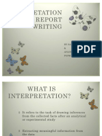 Interpretation and Report Writing