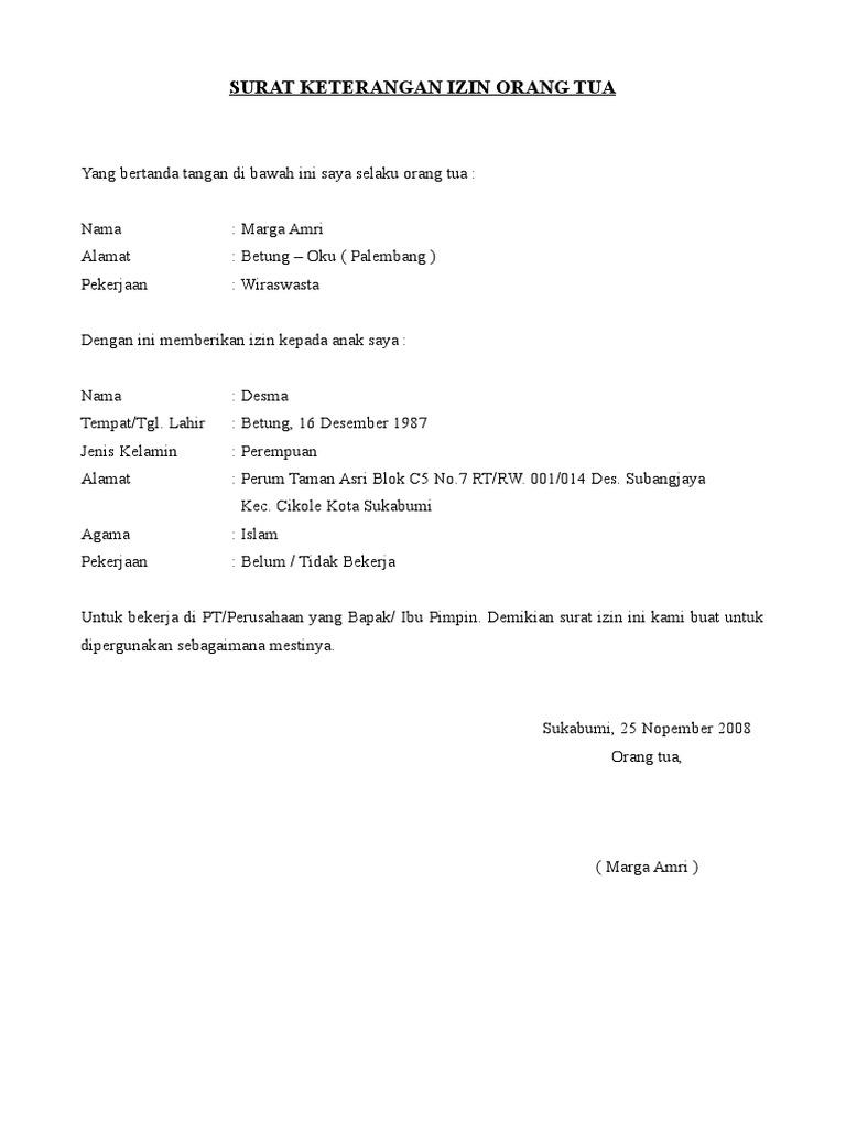 contoh surat pernyataan izin orang tua contoh soal2