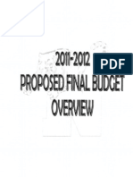Overview of Proposed Final Budget 2011-2012
