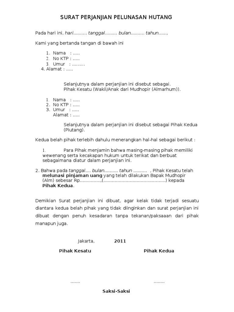 Contoh Surat Rasmi Perjanjian Hutang