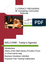 Adult Literacy Providers Forum
