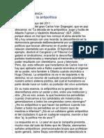 Carlos Iván y la antipolítica-Por Fernando Vivas