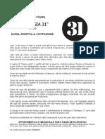 Strategia31 a Roma.COMUNICATO STAMPA