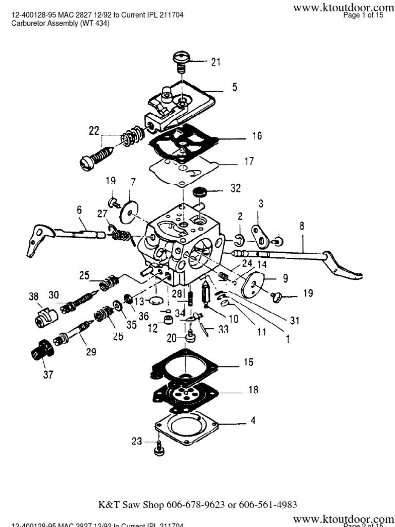 McCulloch Gas Trimmer Parts Manuals 12 400128 95 MAC 2827