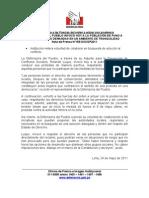 DEFENSORÍA DEL PUEBLO INVOCÓ HOY A LA POBLACIÓN DE PUNO A CANALIZAR SUS DEMANDAS EN UN AMBIENTE DE TRANQUILIDAD