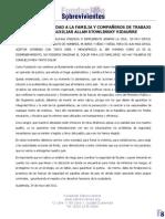 NUESTRA SOLIDARIDAD A LA FAMILIA Y COMPAÑEROS DEL FISCAL AUXILIAR ALLAN STOWLINSKY
