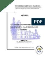 Artículo ANÁLISIS DE LOS ÍNDICES DE POBREZA Y MARGINACIÓN SOCIAL EN EL ESTADO DE MORELOS