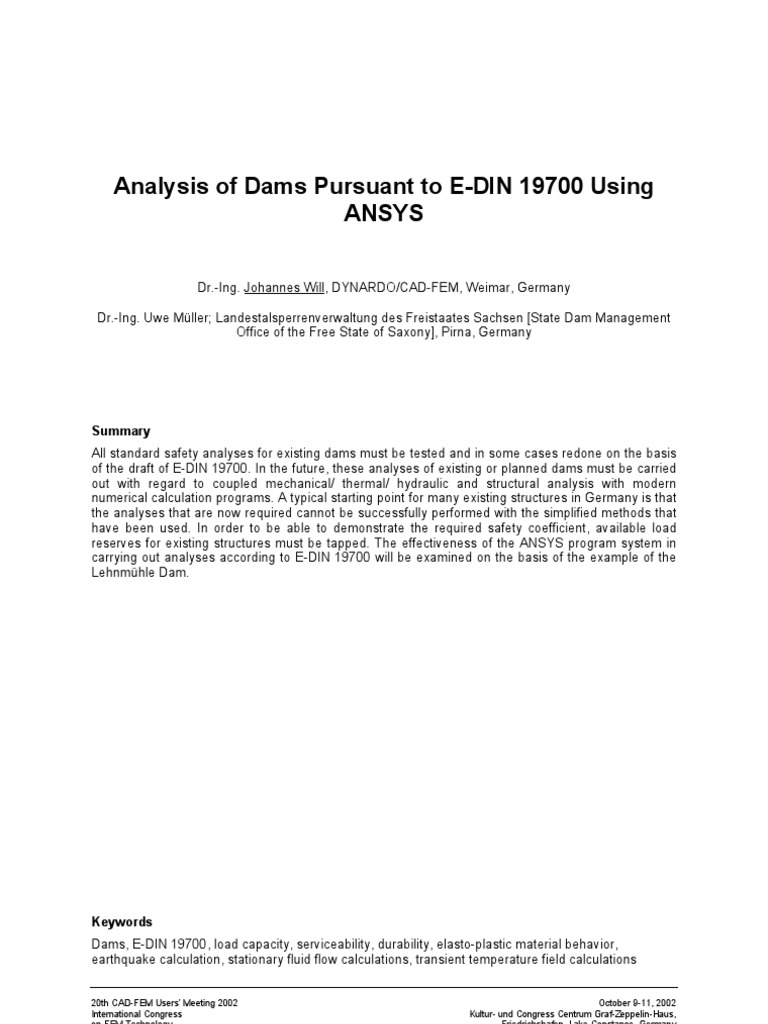 Dynardo Analysis of Dams Using ANSYS | Deformation