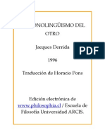 Derrida El Monolinguismo Del Otro