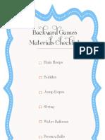 Backyard Games Material Checklist