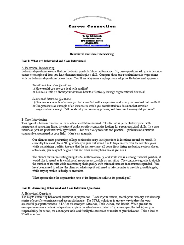 Case and Behv Interview | Question | Employment