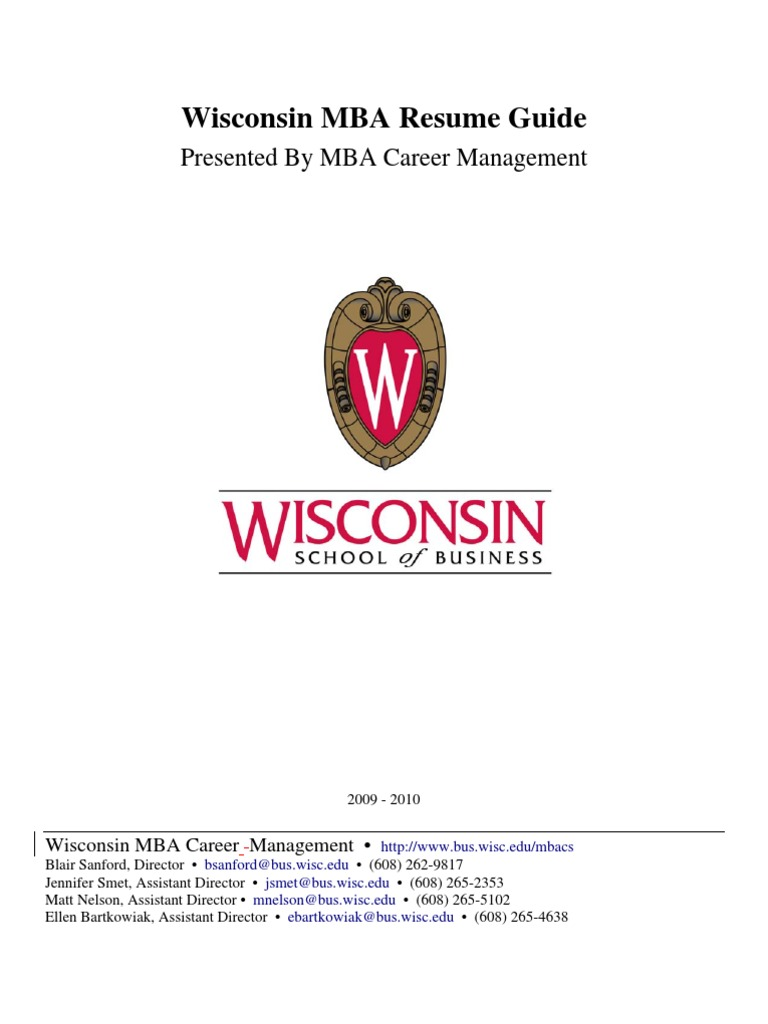 MBA Resume Guide by Wisconsin   Résumé   Master Of Business ...