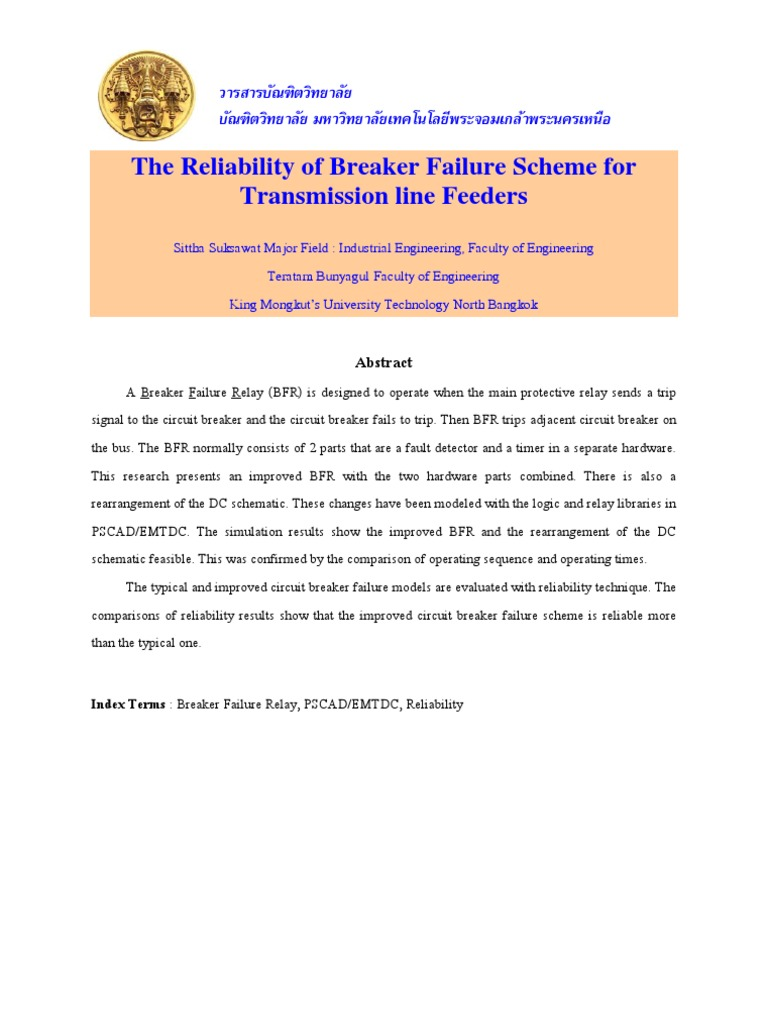 Reliability Of Breaker Failure Scheme Relay Engineering Logic Circuit Simulator