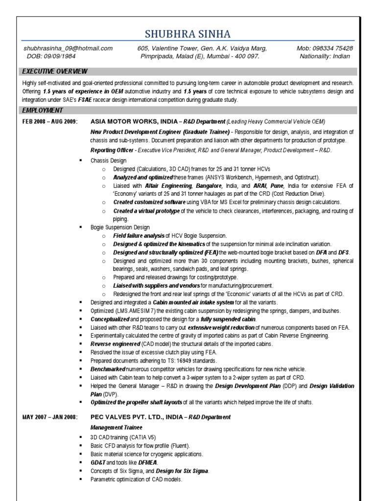 Shubhra Sinha - CV - India | Suspension (Vehicle) | Computer Aided Design