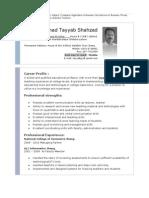 CV by Tayyab Shahzad