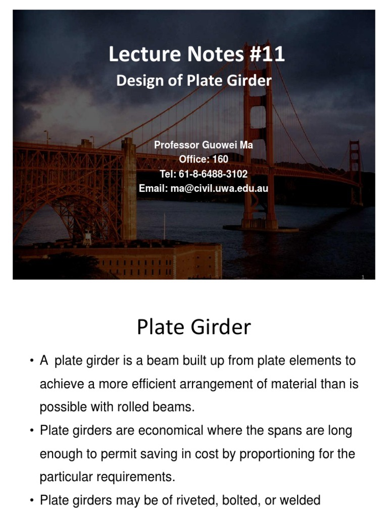 Lecture Notes 11 Design of Plate Girder | Buckling | Beam