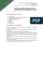 MATERIALES PARA LA ASIGNATURA Y PAUTAS PARA LA ORGANIZACIÓN DEL CUADERNO DE CLASE
