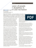 Inclusion of People With Disabilities in Sport and Recreation