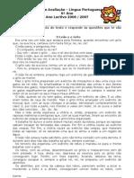 Ficha de Avaliação - Texto narrativo - fábula