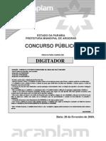 Acaplam 2010 Prefeitura de Aroeiras Pb Digitador Prova