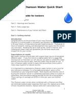 Chanson Water Ionizer Quick Start Guide