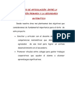 PROYECTO DE ARTICULACIÓN  ENTRE LA EDUCACIÓN PRIMARIA Y LA SECUNDARIA (1)