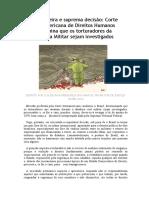 Corte Interamericada de Direitos Humanos exige investigação contra os torturdadores da Ditadura Militar