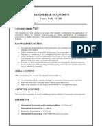 Managerial Economics-course Plan