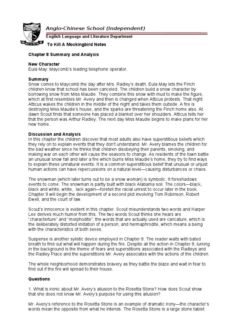 TKMB Notes Chapter 8 to 11 | To Kill A Mockingbird