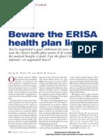 Beware the ERISA Health Plan Lien