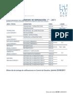 Calendario de exámenes de reparación 2011 FAU UCV