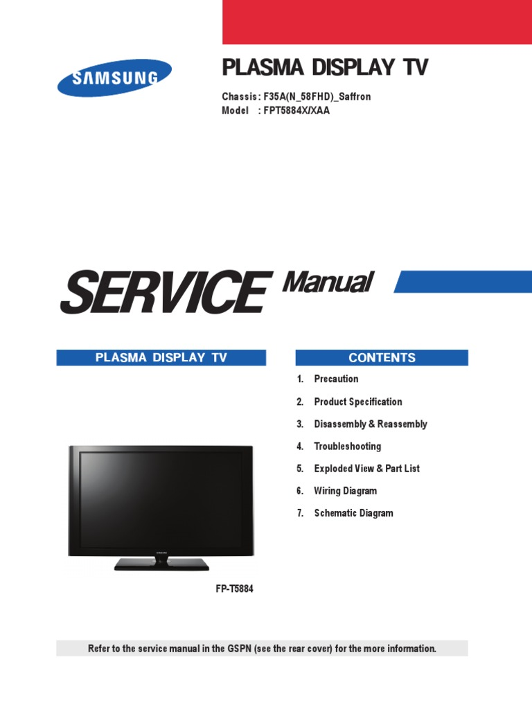 samsung fpt5884x xaa fp t5884 service manual download