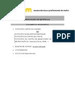 Renovação de Matrícula - Documentos Necessários ETPM