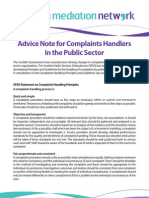 Advice Note for Complaints Handlers in the Public Sector