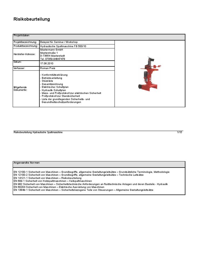 beispiel risikobeurteilung spaltmaschine - Konformitatserklarung Beispiel