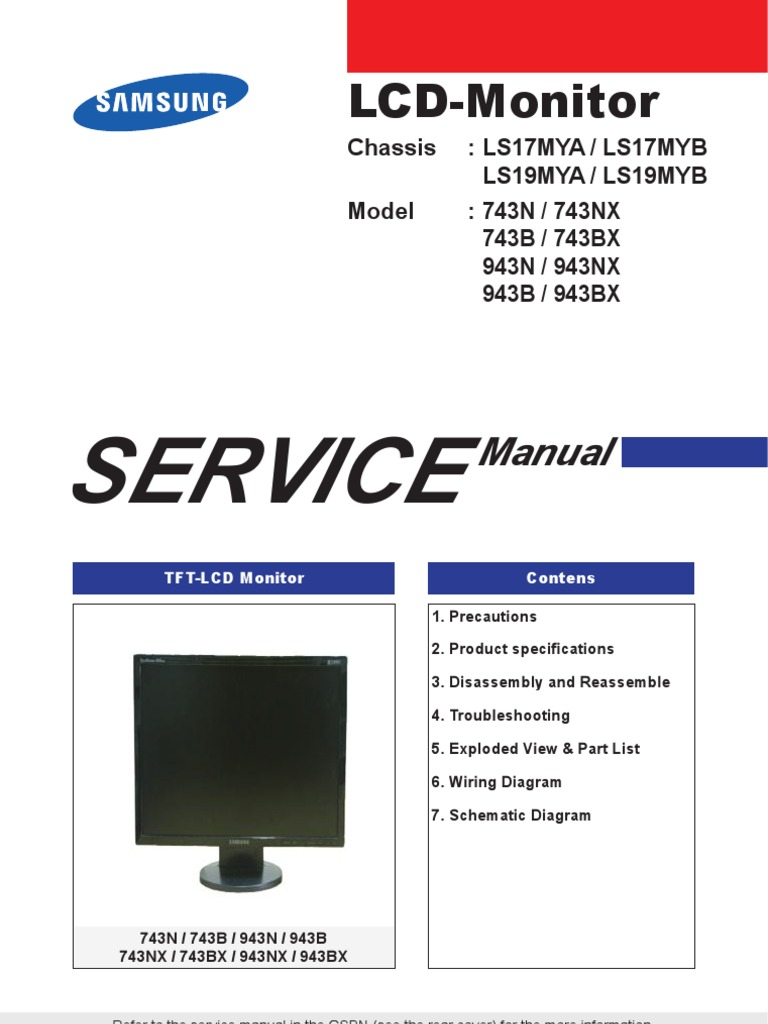 Samsung Monitor Lcd 743n 743b 943n 943b Chassis Ls17my Ls19my Tft Wiring Diagram Service Manual Electrostatic Discharge Electrical Connector