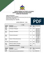 Pedagogia UFSC Matriz Curricular PREG PDF
