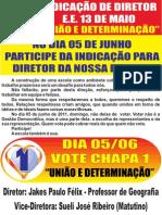 ELEIÇÕES DE DIRETORES - MG PANFLETO AOS ALUNOS