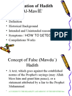 CUHS1 Classification of Hadith MAQBUL MARDUD Fabrication