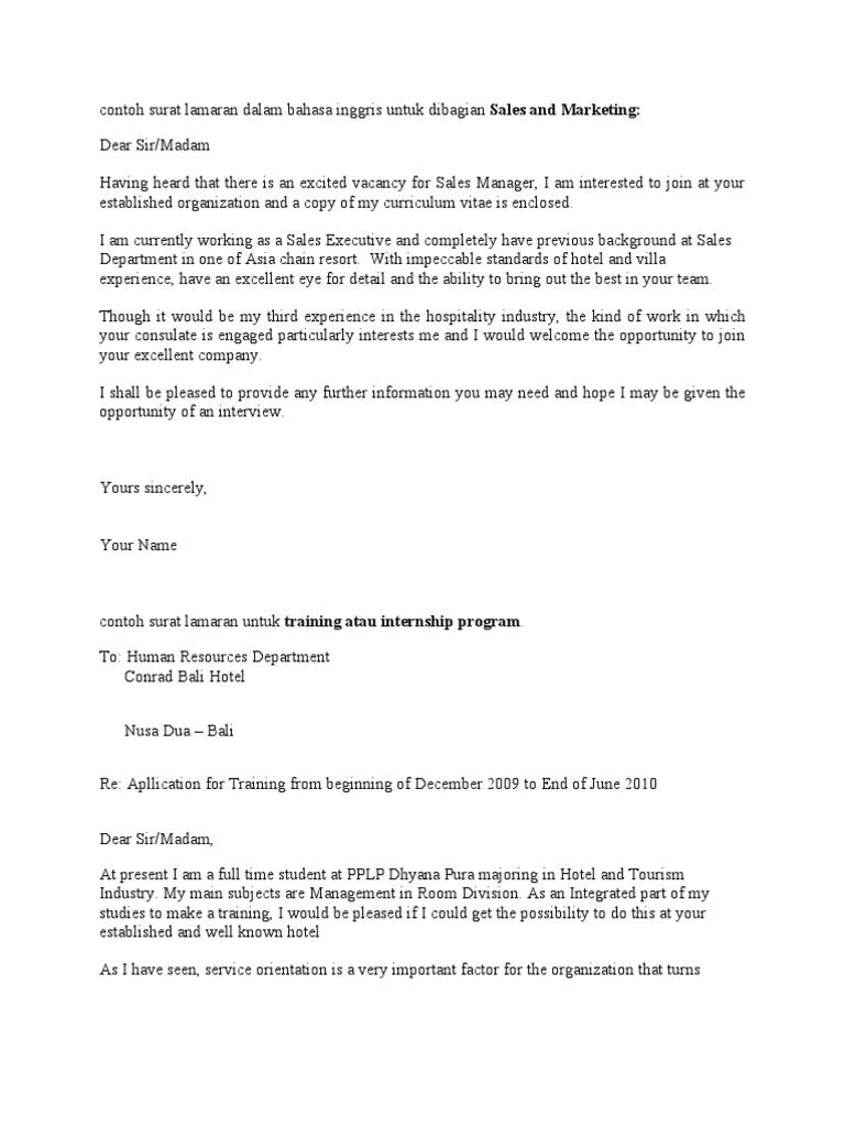 Contoh Surat Lamaran Dalam Bahasa Inggris | Teachers | Lecturer